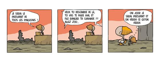 La conqu�te... - Les pingouins sont parmi nous, strips r�alis�es par Bernard Haza�l-Massieux